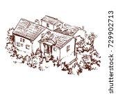 houses town landscape hand...   Shutterstock .eps vector #729902713