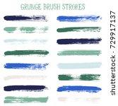 modern watercolor daubs set ... | Shutterstock .eps vector #729917137