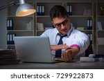 businessman staying late in... | Shutterstock . vector #729922873