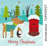 polar animals send letters to... | Shutterstock .eps vector #729955927