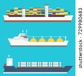 cargo vessels and tankers... | Shutterstock .eps vector #729980683