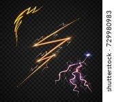 lightning bolt storm strike... | Shutterstock .eps vector #729980983