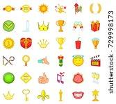 achievement icons set. cartoon... | Shutterstock . vector #729998173