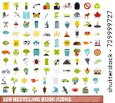 100 recycling book icons set in ... | Shutterstock . vector #729999727