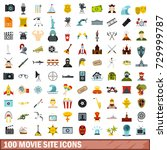 100 movie site icons set in... | Shutterstock . vector #729999787
