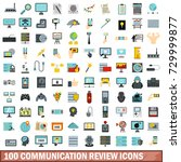 100 communication review icons... | Shutterstock . vector #729999877