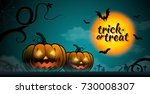 happy halloween pumpkins  bats... | Shutterstock .eps vector #730008307