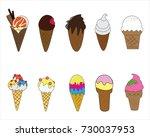ice cream cone variety vector...   Shutterstock .eps vector #730037953