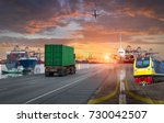 container ship in import export ... | Shutterstock . vector #730042507