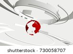 3d white curved shapes and red... | Shutterstock . vector #730058707