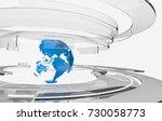3d transparent glass curved... | Shutterstock . vector #730058773