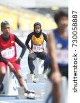 Small photo of KUALA LUMPUR, MALAYSIA 20 SEPTEMBER 2017: Athletes waiting for starting 400meters event at the 9th ASEAN Para Games, Bukit Jalil, Kuala Lumpur.