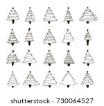set of hand drawn christmas... | Shutterstock .eps vector #730064527