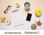 creative flat lay of workspace... | Shutterstock . vector #730064617