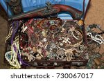 Small photo of a suitcase with treasures. gold. treasure. trove.