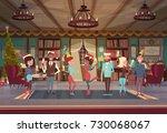 people celebrate merry... | Shutterstock .eps vector #730068067