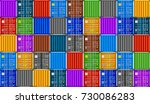 stack of containers in harbor.... | Shutterstock .eps vector #730086283