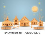 landscape forest with christmas ...   Shutterstock . vector #730104373
