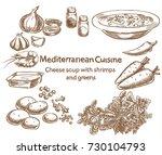 mediterranean cuisine.cheese... | Shutterstock .eps vector #730104793