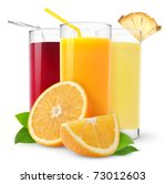 Isolated Fruit Juices. Three...