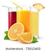 Isolated Fruit Juices. Three...