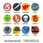film genres icon set with drama ... | Shutterstock .eps vector #730135213