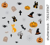 happy halloween vector... | Shutterstock .eps vector #730135567