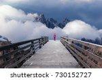 lone girl standing on wooden... | Shutterstock . vector #730152727