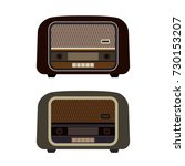 set of old retro radio players. ... | Shutterstock .eps vector #730153207