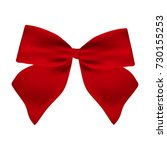 red gift bow of ribbon isolated ... | Shutterstock . vector #730155253