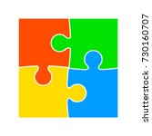 four color puzzle   vector | Shutterstock .eps vector #730160707