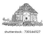 sketch of konark sun temple...   Shutterstock .eps vector #730166527
