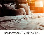 bed maid up with clean white... | Shutterstock . vector #730169473