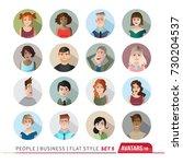 16 avatars  women  and men... | Shutterstock .eps vector #730204537