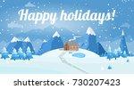 vector illustration of winter... | Shutterstock .eps vector #730207423