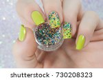 neon green colorful glitter... | Shutterstock . vector #730208323