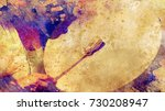 shamanic girl with frame drum... | Shutterstock . vector #730208947