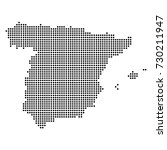 dotted map of spain | Shutterstock .eps vector #730211947
