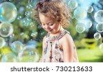 cute  little girl among... | Shutterstock . vector #730213633