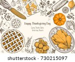 thanksgiving day top view... | Shutterstock .eps vector #730215097