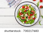 easy vegetarian salad with figs ... | Shutterstock . vector #730217683