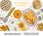 thanksgiving day top view... | Shutterstock .eps vector #730222333