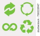 green recycle icon set. eco... | Shutterstock . vector #730223947