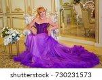 beautiful woman in a long dress   Shutterstock . vector #730231573