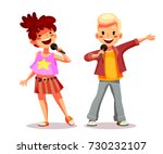cute girl and boy singing into... | Shutterstock .eps vector #730232107