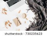 office desktop with laptop ... | Shutterstock . vector #730235623