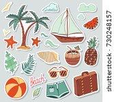 summer stickers beach cute... | Shutterstock .eps vector #730248157