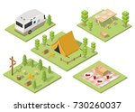 isometric camping and hiking... | Shutterstock .eps vector #730260037