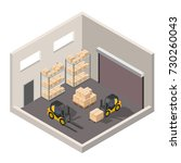 isometric warehouse interior of ... | Shutterstock .eps vector #730260043