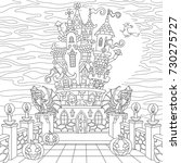 halloween coloring page. spooky ... | Shutterstock .eps vector #730275727